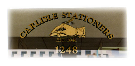 Gold Leaf sign and design for Carlisle Stationers, Santa Monica, CA by Dennis Knicely
